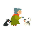 smiling granny holding a bowl with food for her vector image