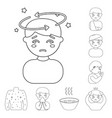 the sick man outline icons in set collection for vector image