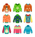 ugly sweater knitted jumpers with christmas vector image vector image