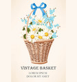 vintage basket with flowers vector image vector image