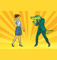 woman businesswoman boxing fights with crocodile vector image vector image