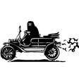 woman in hijab or burka driving a car vector image vector image