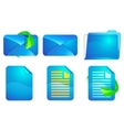 Blue paper and envelope icons vector image