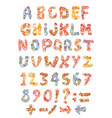 sketch childish alphabet with cartoon letters vector image