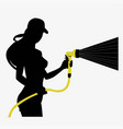 silhouette of a girl with a hose vector image