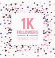 1k followers thank you card social network banner vector image