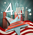 4 th July Retro with Flag Star and City on vector image
