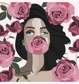 a girl with pink violet roses vector image