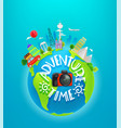 adventure time travel with different world vector image vector image
