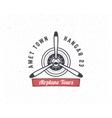 Airplane emblem Biplane label Retro Plane vector image vector image