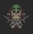 american skull army graphic vector image vector image
