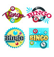 bingo game logo set with numbered colourful balls vector image