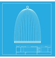 Bird cage sign White section of icon on blueprint vector image vector image