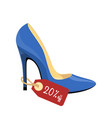 blue stiletto shoe with price tag isolated on vector image