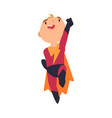 boy dressed as superhero jumps to take off cartoon vector image vector image