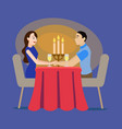 cartoon loving couple in a cafe concept vector image