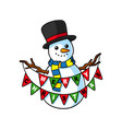 cartoon snowman with buntings vector image vector image