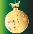 christmas ball gold bow and swirl ornament vector image