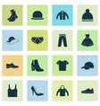 clothes icons set collection of cardigan trilby vector image vector image