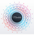 colorful mandala art decoration background vector image vector image