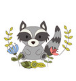 cute animal in cartoon style woodland raccoon vector image vector image