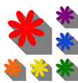 flower sign set of red orange vector image