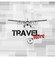 flying plane with travel text typographic vector image vector image