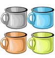 Four mugs of different colors on white background vector image vector image