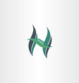 green leaf letter h ecology icon vector image vector image