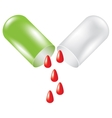 Green pill with drop of blood vector image vector image