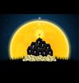 halloween coffin graveyard skull moon zombie hand vector image vector image