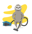 happy cute sloth that makes cleaning with a vacuum vector image