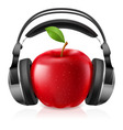 headset on apple vector image vector image