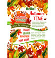 hello autumn banner of fall harvest celebration vector image vector image