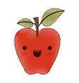 kawaii red apple with stem and leaves in colored vector image
