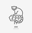 lemur sitting on zoo sign flat line icon animal vector image
