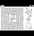 maze game with monkey and banana coloring book vector image vector image