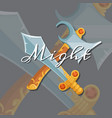 medieval crossed axe and sword vector image vector image