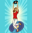 music and vinyl joyful young woman jumping up vector image vector image