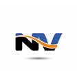 NV company linked letter logo vector image vector image