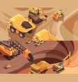 opencast workings banners collection vector image vector image