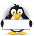 penguin cartoon with blank sign vector image vector image