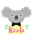 portrait a koala in a yellow shirt graphics vector image vector image
