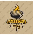 Retro logo design with bbq grilled and flame vector image vector image