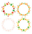 round autumn frames with maple leaves - set vector image vector image