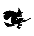 Scary Halloween witch flying on broom vector image