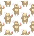 seamless pattern with cute sloths taking selfies vector image vector image