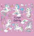 set cute cartoon unicorns and sea unicorns vector image vector image