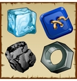 Set of four items ice buttons coal and nut vector image vector image