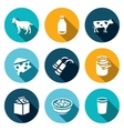 Set of Milk Products Icons Animal Bottle vector image